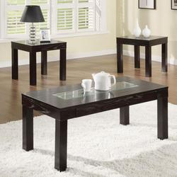 Denhem 3 Piece Coffee Table and End Table Set with Glass Inset Top