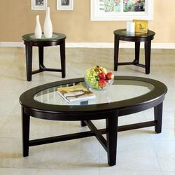 Kort 3 Piece Coffee and End Table Set with Glass Tops