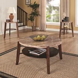 Nadav Round Faux Marble 3-Piece Coffee/End Table