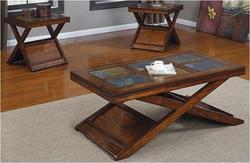 Benicia Transitional 3 Piece Occasional Table Set with Slate Inlays