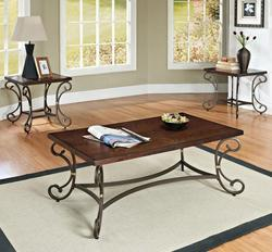 Barnabe 3 Piece Coffee and End Table Set with Shaped Legs