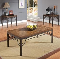 Barry 3 Piece Coffee and End Table Set with Metal Shaping
