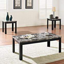 Finely 3 Piece Coffee and End Table Set with Faux Marble Tops