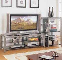 Altra Metal Glass Top Entertainment Center