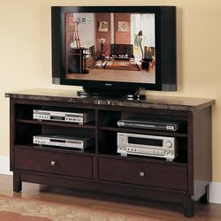 7093 2 Drawer Black Marble Top Entertainment Console Set