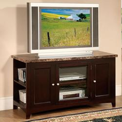 Finely TV Stand with Faux Marble Top and 3 Doors