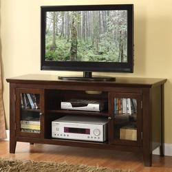 Banee Espresso 2 Door TV Stand with 6 Shelves