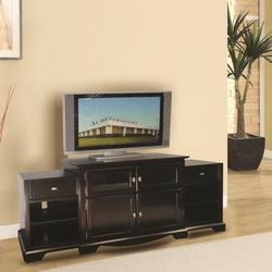 Lamesha Contemporary Espresso Tv Stand W/Built-In Side Cabinets