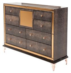 Hollywood Loft Upholstered Dresser with Crocodile Print and Mirror Accents