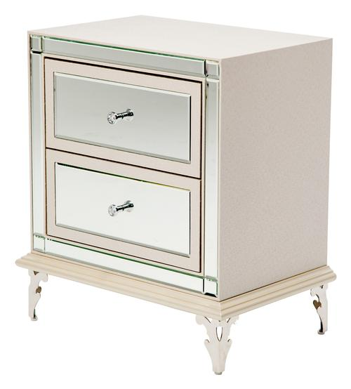 Aico amini innovation hollywood loft upholstered nightstand with mirror drawer fronts and gem knobs - Elegant types of nightstands ...