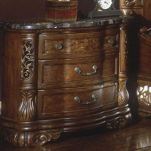 Excelsior Three Drawer Stone Top Nightstand