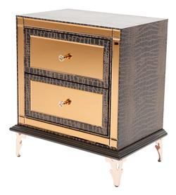 Hollywood Loft Upholstered Nightstand with Mirror Drawer Fronts and Gem Knobs