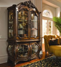 Palais Royale Four-Door Bombe Shaped Curio Cabinet