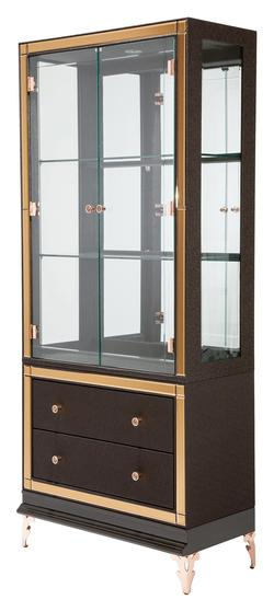 Hollywood Loft Curio with Mirror Accents and Drawers