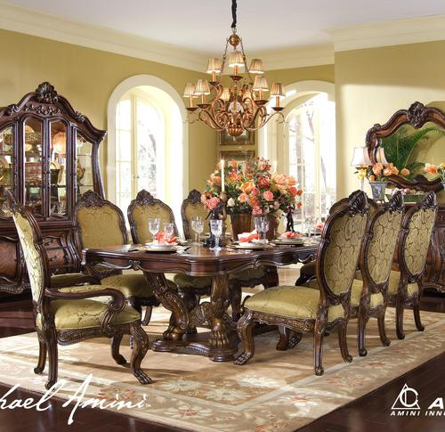 Chateau Beauvais 9 Piece Ornate Formal Dining Room Set