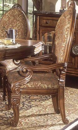 Go To Product Excelsior Upholstered Dining Arm Chair With Carving Accents