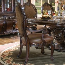 60193 Essex Manor Dining Arm Chair With Leather Seat