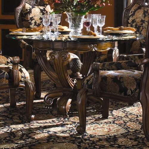 Oppulente Traditional Glass Top Round Dining Table