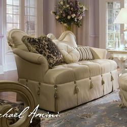 Lavelle Wood Trim Settee with Fringe Accents