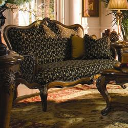 Palais Royale Wood Trim Settee with Hand-Carved Accents