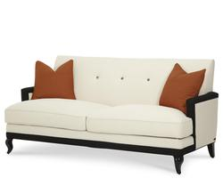 After Eight Contemporary Sofa with Tangerine Pillows and Cabriole Feet