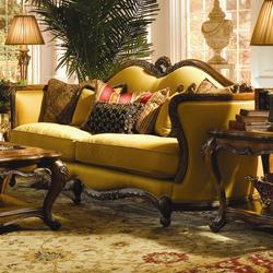 Palais Royale Wood Trim Sofa with Hand-Carved Accents