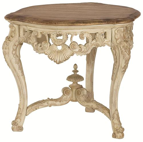 Jessica McClintock Home   The Boutique Collection Round Carved Tripod End  Table With Cabriole Legs