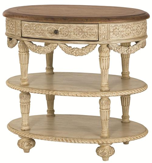 Jessica McClintock Home   The Boutique Collection Oval Tiered Accent Table  With Draped Detailing