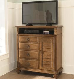 Grand Isle 4-Drawer 1-Door Media Cabinet with Open Cubbyhole Compartment & Wire Management
