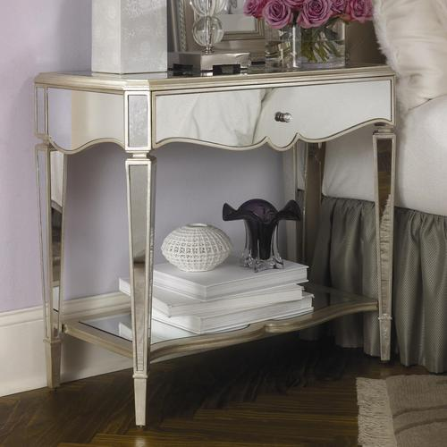 jessica mcclintock romance dining room furniture couture one drawer shelf mirrored night stand silver leaf ashley lea collecti