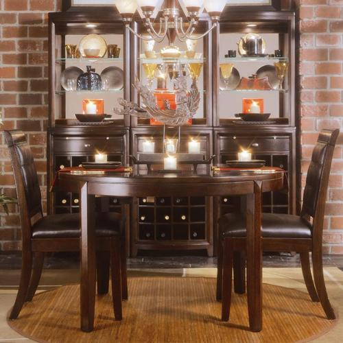American drew tribecca 3 piece round leg table and leather for 3 piece dining room
