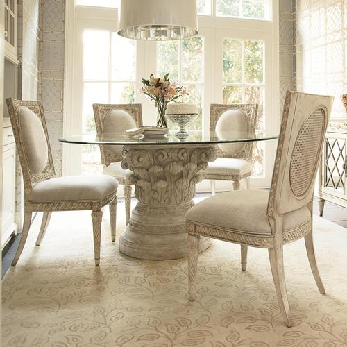 Jessica McClintock Home   The Boutique Collection 5 Piece Round Glass Dining  Table With Pedestal Base Part 50