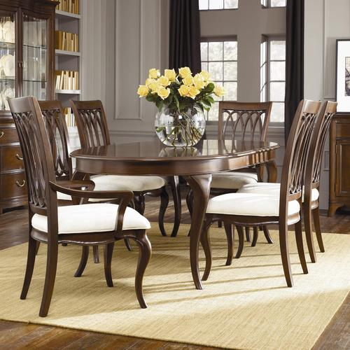 American Drew Cherry Grove Oval Pedestal Dining Table With 6 Slat Back Chairs
