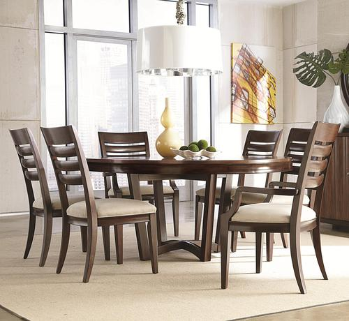 Miramar 7 Piece Round Dining Table With Slat Back Chairs Part 75