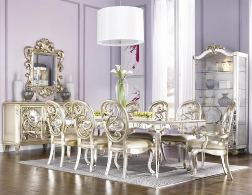 Jessica McClintock Couture Nine Piece Mirrored Leg Table And Silver Leaf  Chair Dining Set