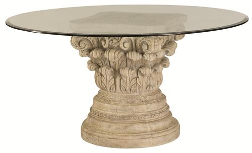 Jessica McClintock Home   The Boutique Collection Glass Top Round Dining  Table With Corinthian Style Pedestal