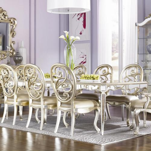 American Drew Jessica McClintock Couture Mirrored Leg Dining Table - Silver mirrored dining table