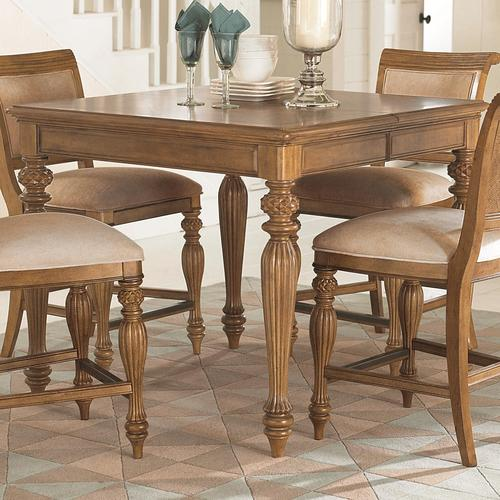 american drew grand isle square counter height dining table with turned carved legs one 20 39 leaf. Black Bedroom Furniture Sets. Home Design Ideas