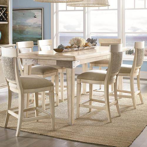 Americana Home 7 Piece Pub Height Table And 6 Counter Height Chairs  Weathered White Finish Set