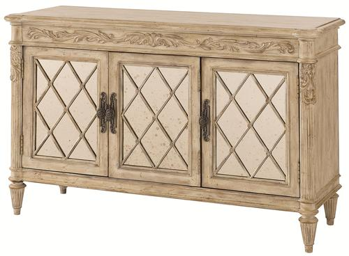Jessica Mcclintock Home The Boutique Collection Mirrored Server With Diamond Shaped Front Grille Frame