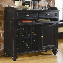 Camden - Dark Server with Wine Storage and Silver Tray
