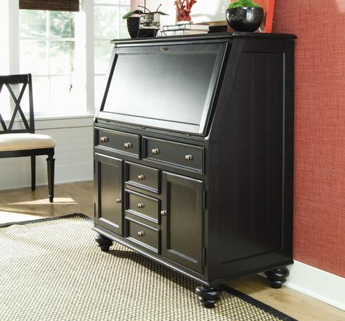 American Drew Camden Dark Secretary Desk With Drop Down Lid
