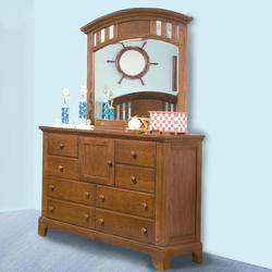 Bradford Youth Double Dresser & Landscape Mirror with 8 Drawers 1 door