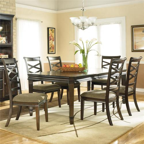 Hayley Contemporary 7 Piece Dining Set With X Back Chairs