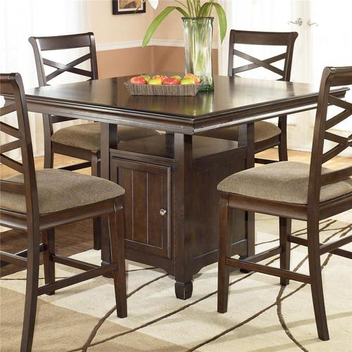 Hayley Contemporary Square Counter Height Pedestal Table With Storage
