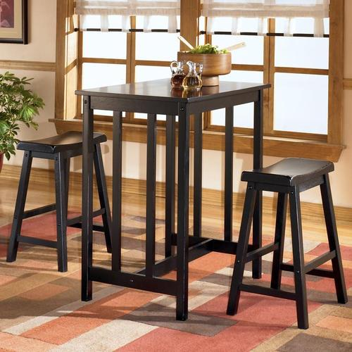 Conrad Rectangular Counter Height Table With 2 Backless Bar Stools
