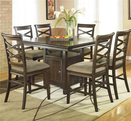 Ashley furniture hayley 7 piece contemporary dining set for Dining room table 32 wide
