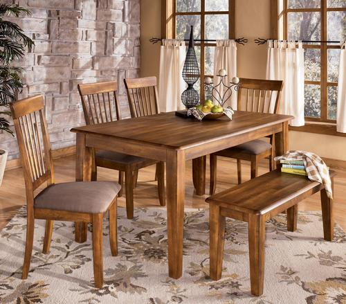Ashley furniture berringer 36 x 60 table with 4 chairs bench for Dining room table 60 x 36