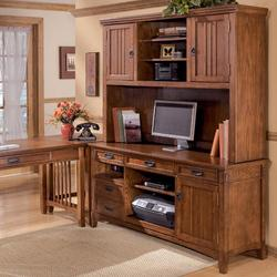 Cross Island Office Mission Credenza Desk & 2 Door Hutch Set
