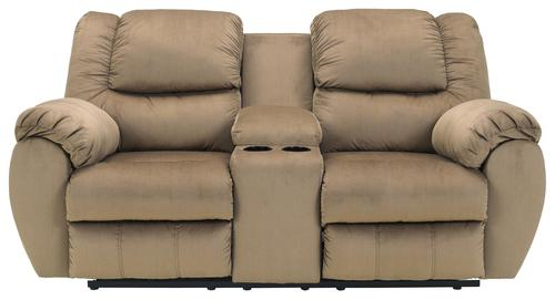 cocoa casual double reclining console loveseat with cup holders leather w